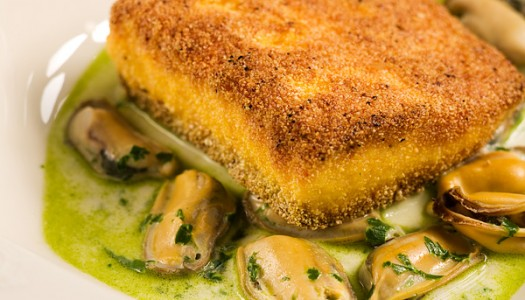 Cornmeal-Crusted Salmon with Basil Mussel Broth