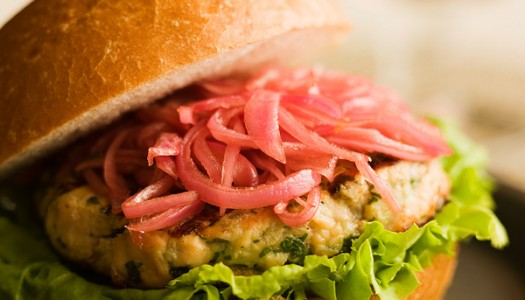Grilled Salmon Burgers with Pickled Red Onions