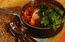 Sweet Potato Lentil Chili with Cinnamon Sour Cream