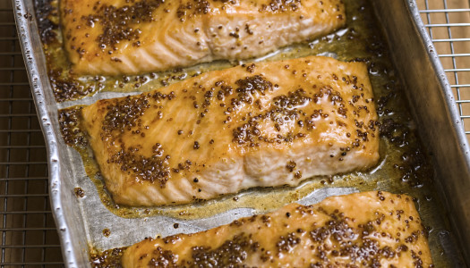 Slow-Baked Salmon with Honey Mustard Glaze
