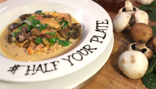 Half Your Plate: Slow Cooker Mushroom and Spinach Stew