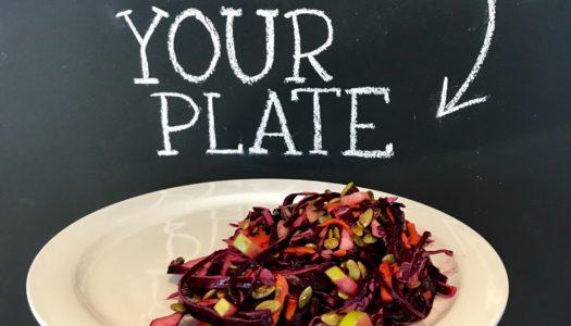 Red Cabbage Salad with Cranberry Vinaigrette, Apples & Pumpkin Seeds